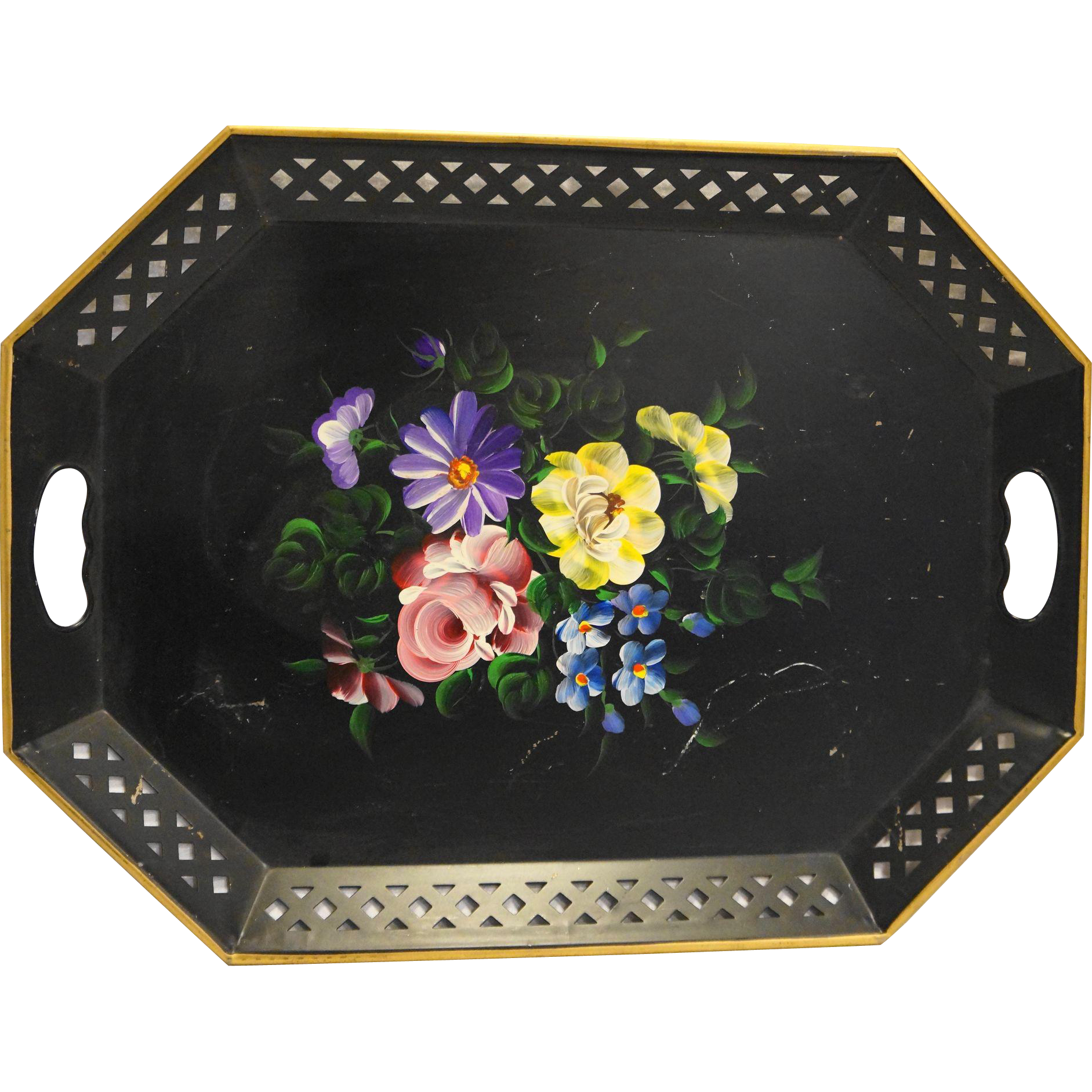 Nashco Black Hand Painted Floral Metal Tole Tray Pierced