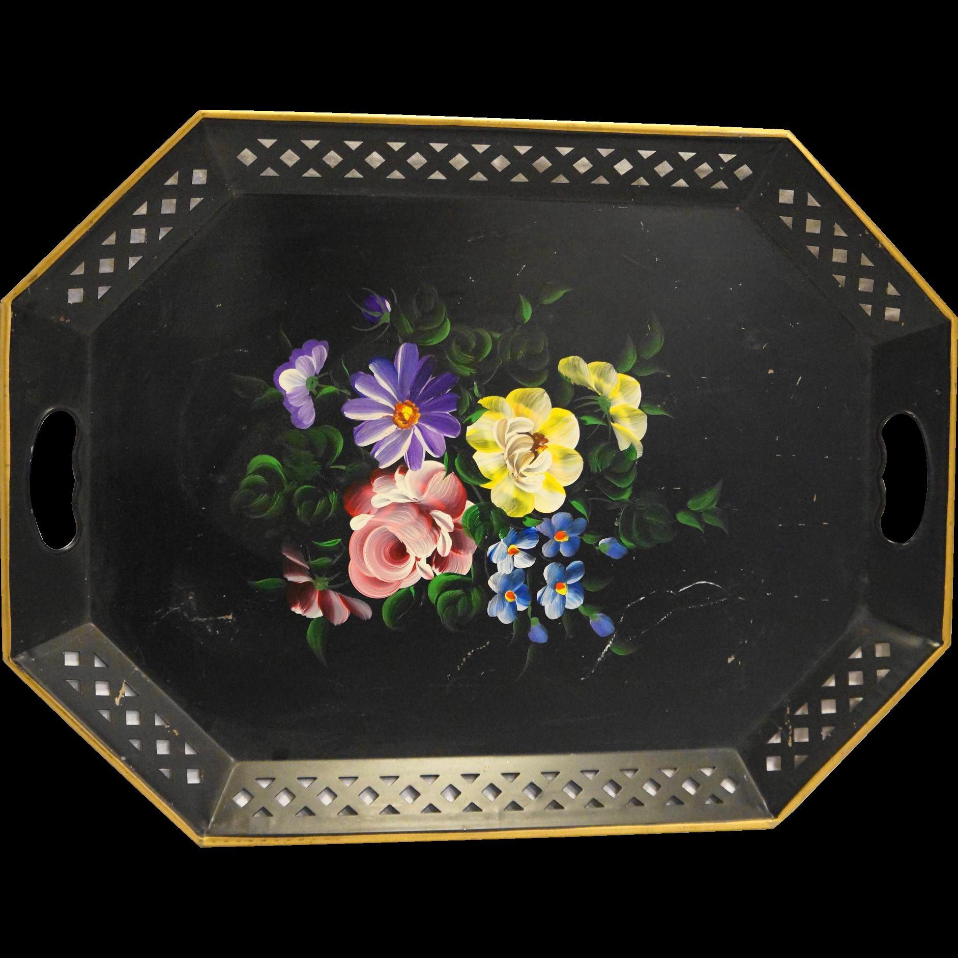 Nashco Black Hand Painted Floral Metal Tole Tray Pierced Rim