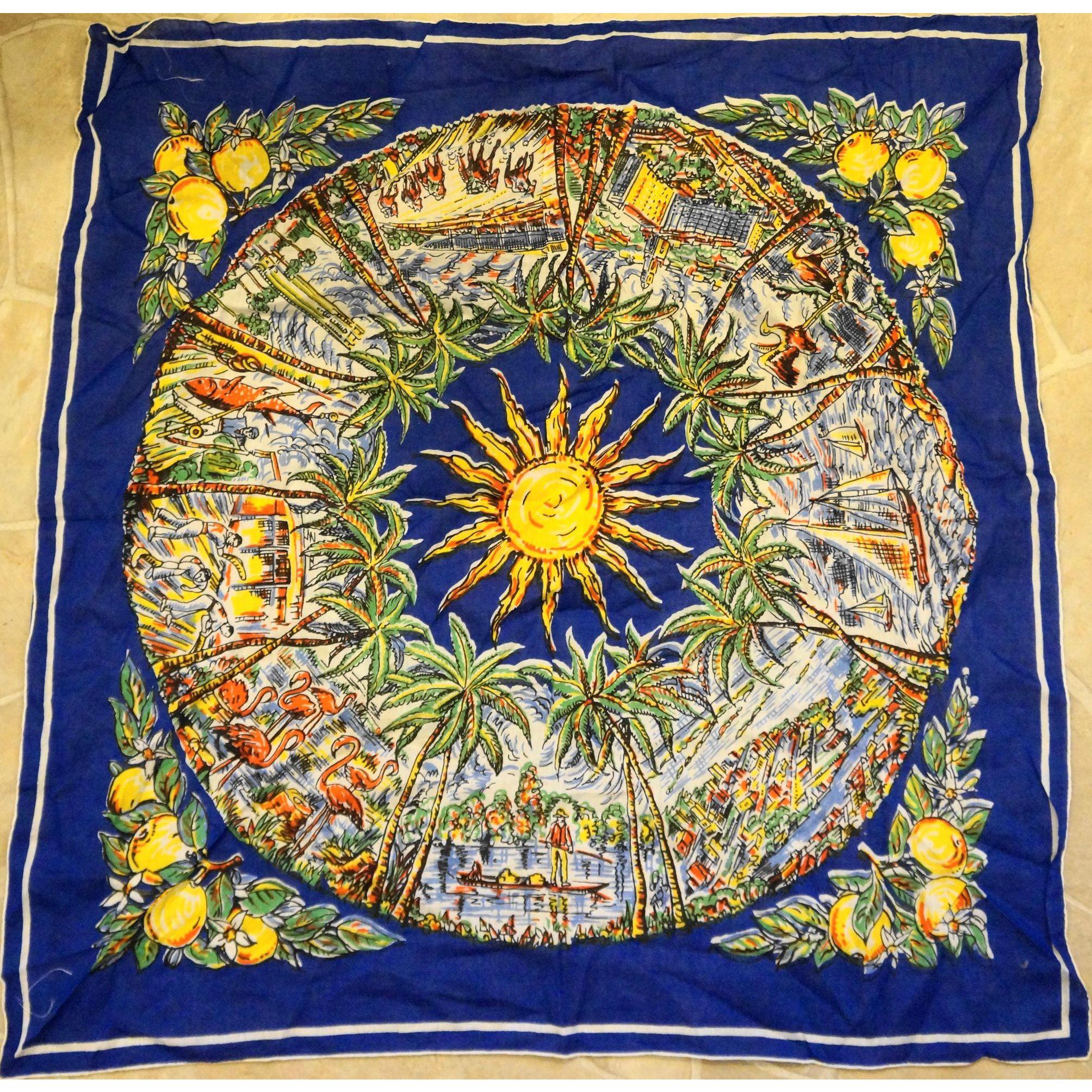 Florida Souvenir Cotton Printed Scarf Blue 26 IN Square