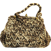 Walborg Italy Brown Cream Raffia Handbag Straw Purse