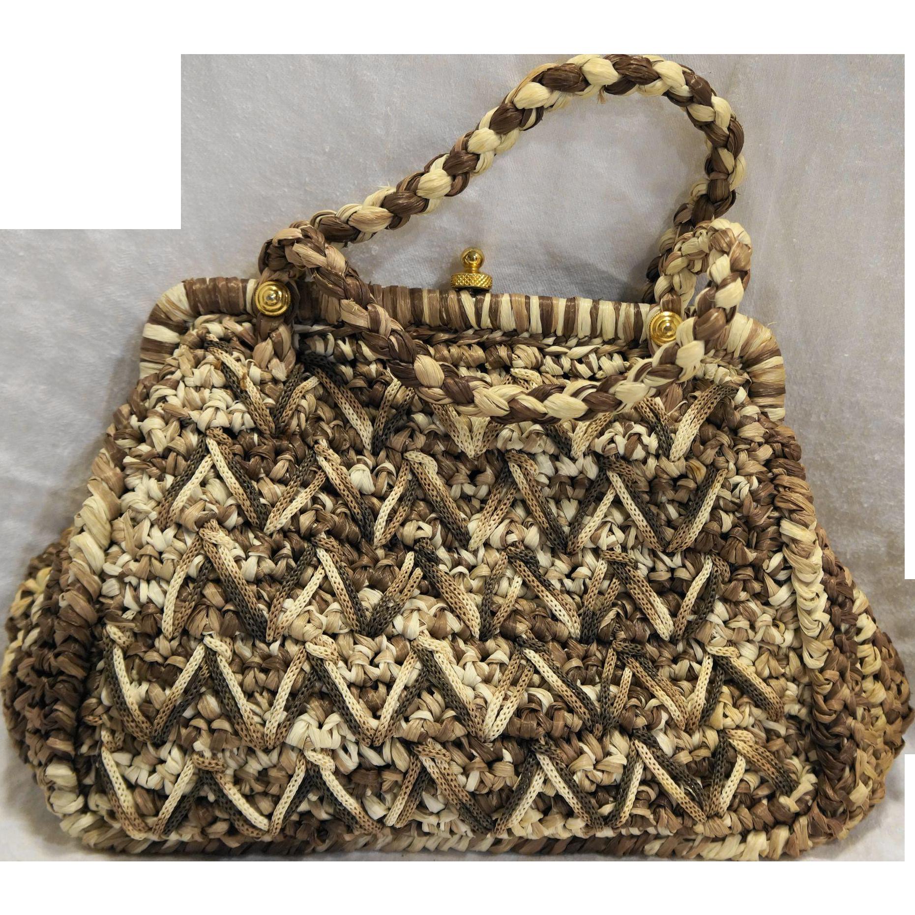 Walborg Italy Brown Cream Raffia Handbag Straw Purse