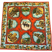 Sicilia Sicily Italy Souvenir Travel Scarf Red Colorful 26 IN Polyester