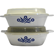 Corning Corningware Cornflower P 41 B 12 Oz Petite Pans With Lids Pair