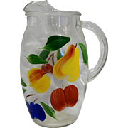Bartlett Collins Gay Fad Fruit Hand Painted Clear Pitcher Ice Lip