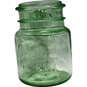 Grandma Wheaton's Old Fashioned Receipts Canning Jar Green Glass No Lid 1 Pt