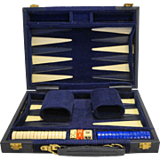Aries Backgammon Set Navy Blue Leather Corduroy Case - Red Tag Sale Item