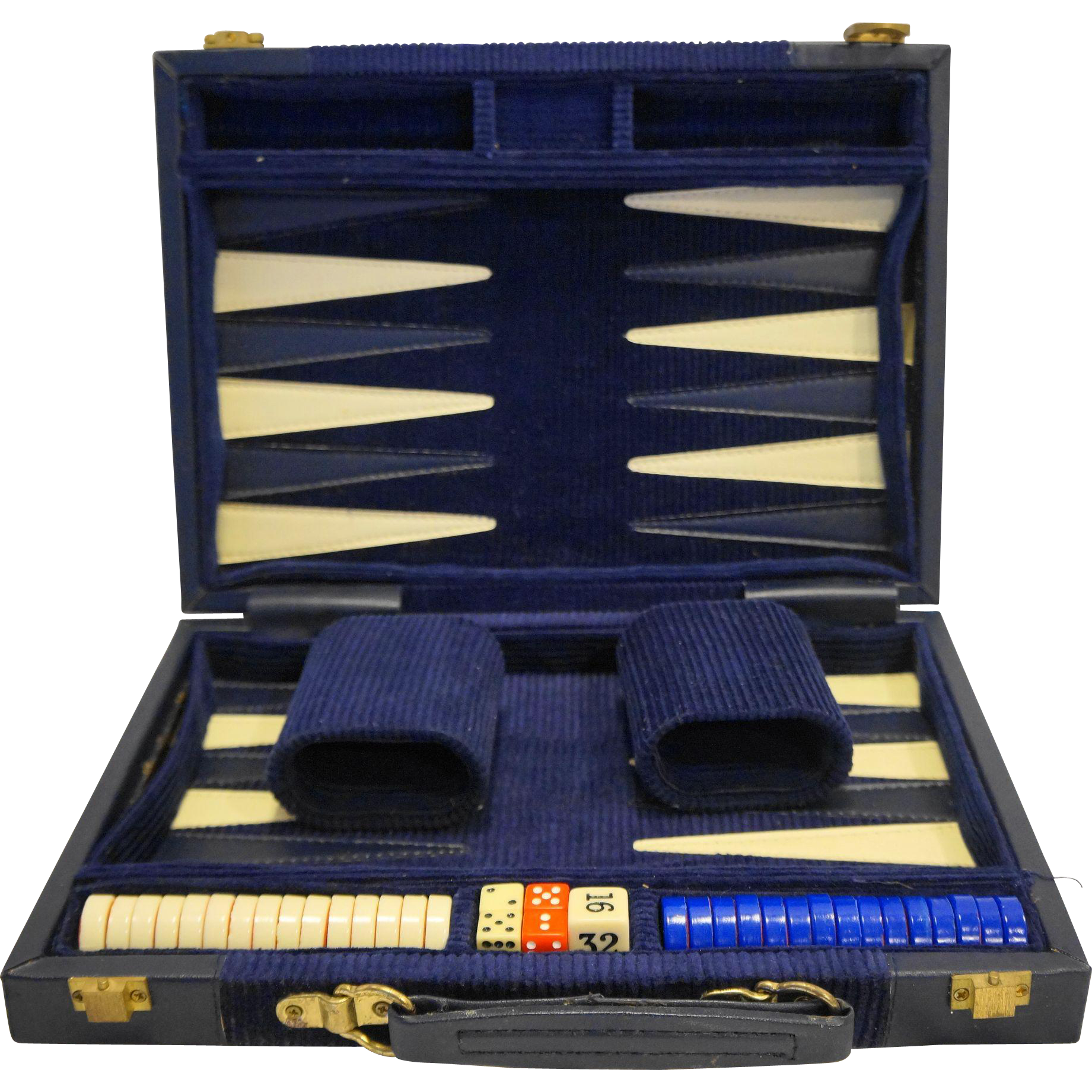 Aries Backgammon Set Navy Blue Leather Corduroy Case