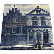 KLM Delft Blue White Porcelain Tile Coaster Buildings Rooftops Series 1984 3 IN