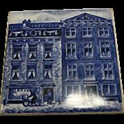 KLM Delft Tile Coaster Blue White Porcelain Buildings Cityscape Amsterdam Holland Dutch