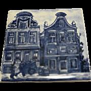 KLM Delft Blue White Tile Coaster Buildings Cityscape Series Amsterdam Holland Dutch