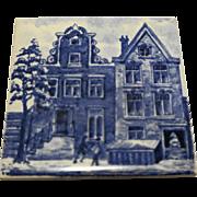 KLM Delft Tile Coaster City Buildings Series Blue White Porcelain Amsterdam Holland Dutch