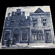 KLM Delft Tile Coaster City Building Series  Amsterdam Holland Dutch Blue White Porcelain
