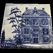 KLM Delft Tile Coaster City Houses Buildings Series Large House Blue White Porcelain Amsterdam Holland Dutch