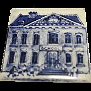 KLM Delft Tile Coaster City Buildings Series School Blue White Amsterdam Holland Dutch