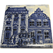 KLM Delft Tile Coaster City Building Series Blue White Amsterdam Holland Dutch