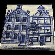 KLM Delft Tile Coaster Buildings City Series Blue White Home Store Amsterdam Holland Dutch