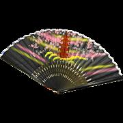 Hand Painted Silk Bamboo Folding Fan Japanese Tea Garden San Francisco Souvenir