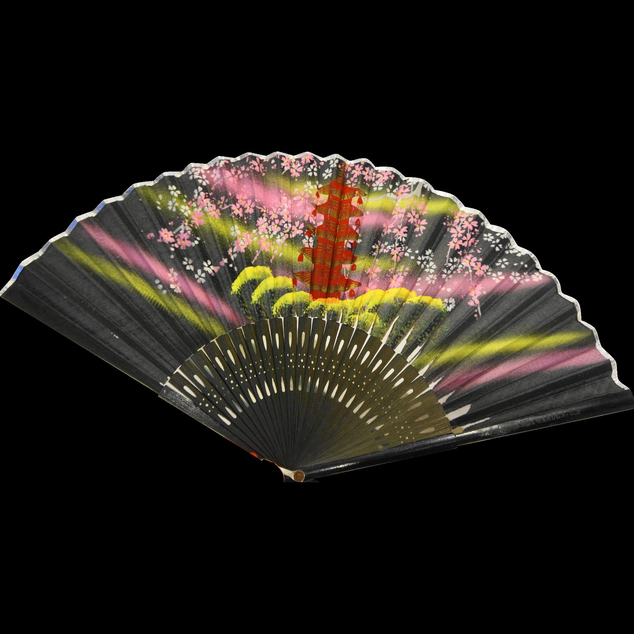 Hand Painted Silk Bamboo Folding Fan Japanese Tea Garden