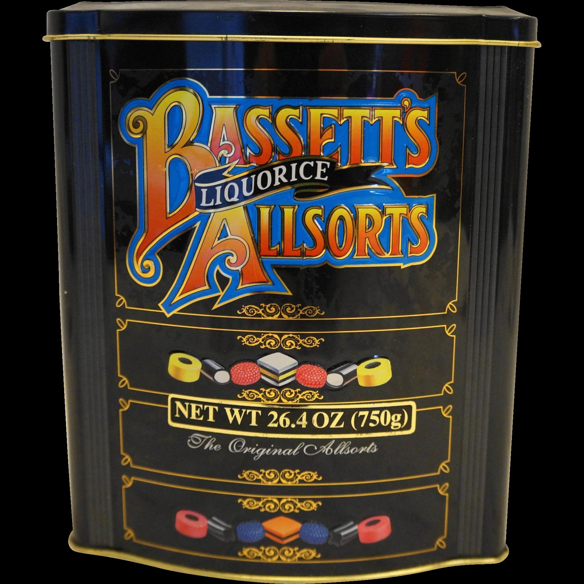 Bassett's Allsorts Liquorice Tin Black Multicolor Vintage Dresser Shape