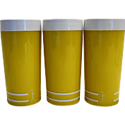 Morgan Designs Company Retro Yellow White Insulated Plastic Tumblers Pair