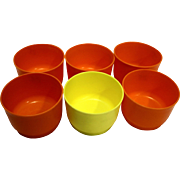 Tupperware 1229 Snack Cups No Lids Set of 6 5 Orange 1 Yellow 1970s