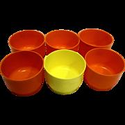 Tupperware 1229 Snack Cups No Lids Set of 6 5 Orange 1 Yellow 1970s