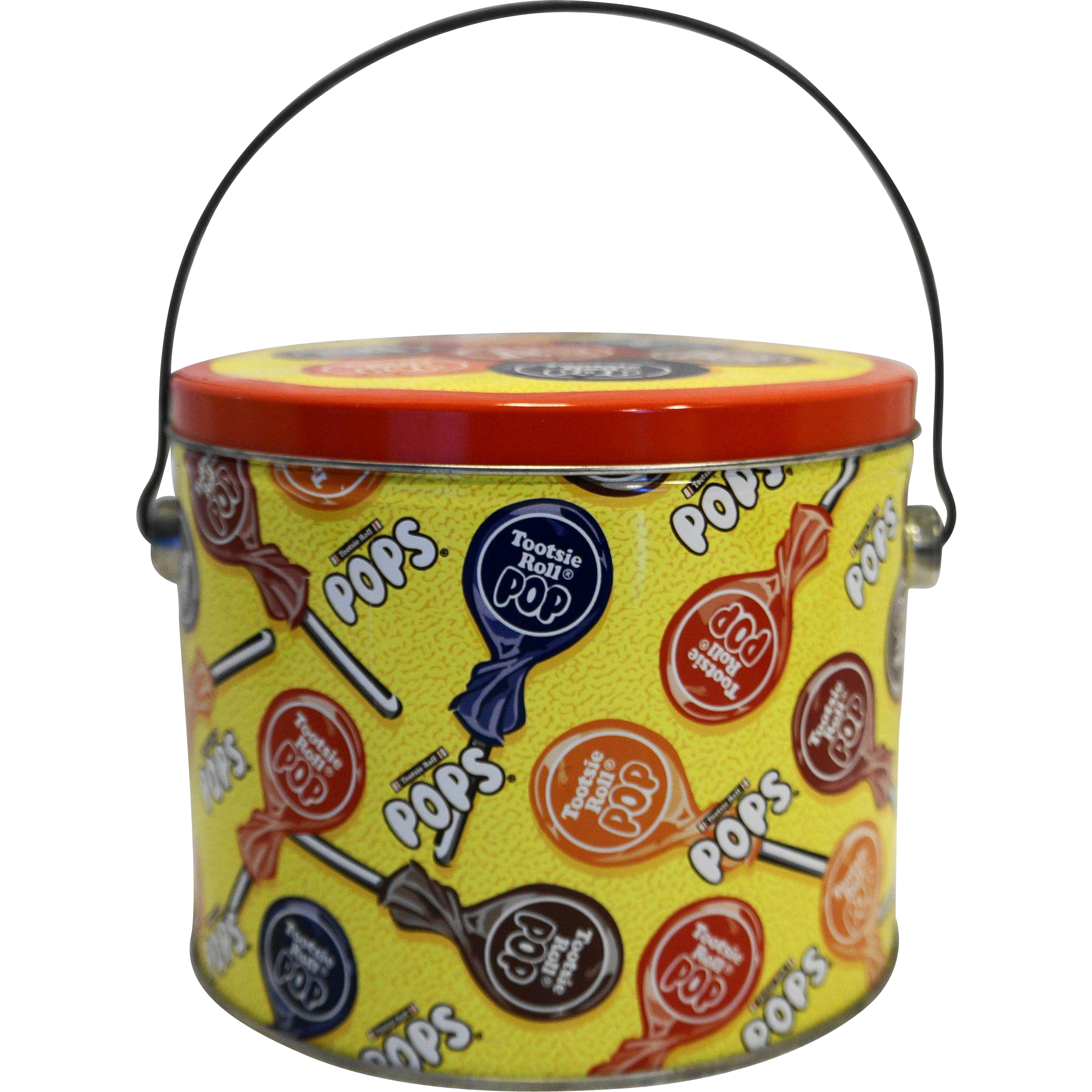 Tootsie Roll Pop Yellow Vintage Tin Pail Bucket 1997 Vintage
