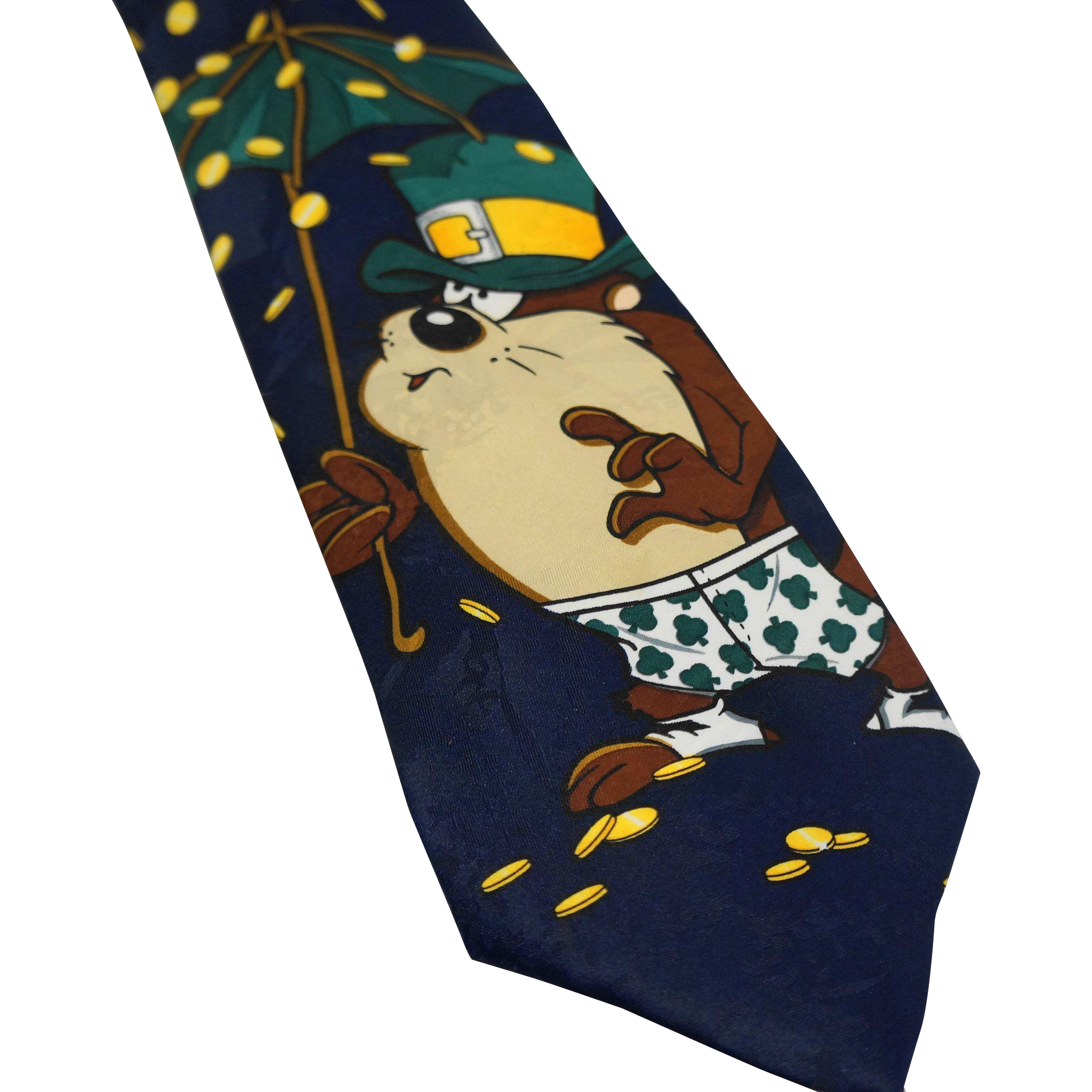 Taz Tasmanian Devil St Patricks Day Tie Silk Warner Bros 1996