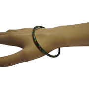 Cloisonne Enamel Thin Narrow Bangle Bracelet Green