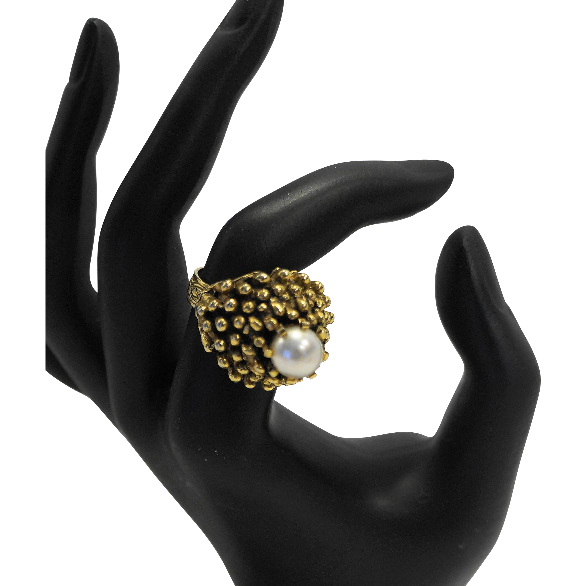 Vintage Costume Jewelry Faux Pearl Domed Cocktail Ring Gold Tone Nugget Setting Adjustable Band