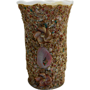 Seashell Encrusted White Milk Glass Vase Souvenir