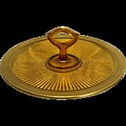 Amber Depression Glass Ribbed Tidbit Sandwich Center Handle Tray Gold Encrusted Rim