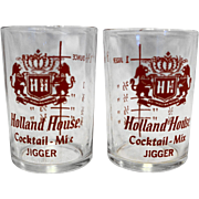 Holland House Jigger Shot Glasses Hazel Atlas Red Clear