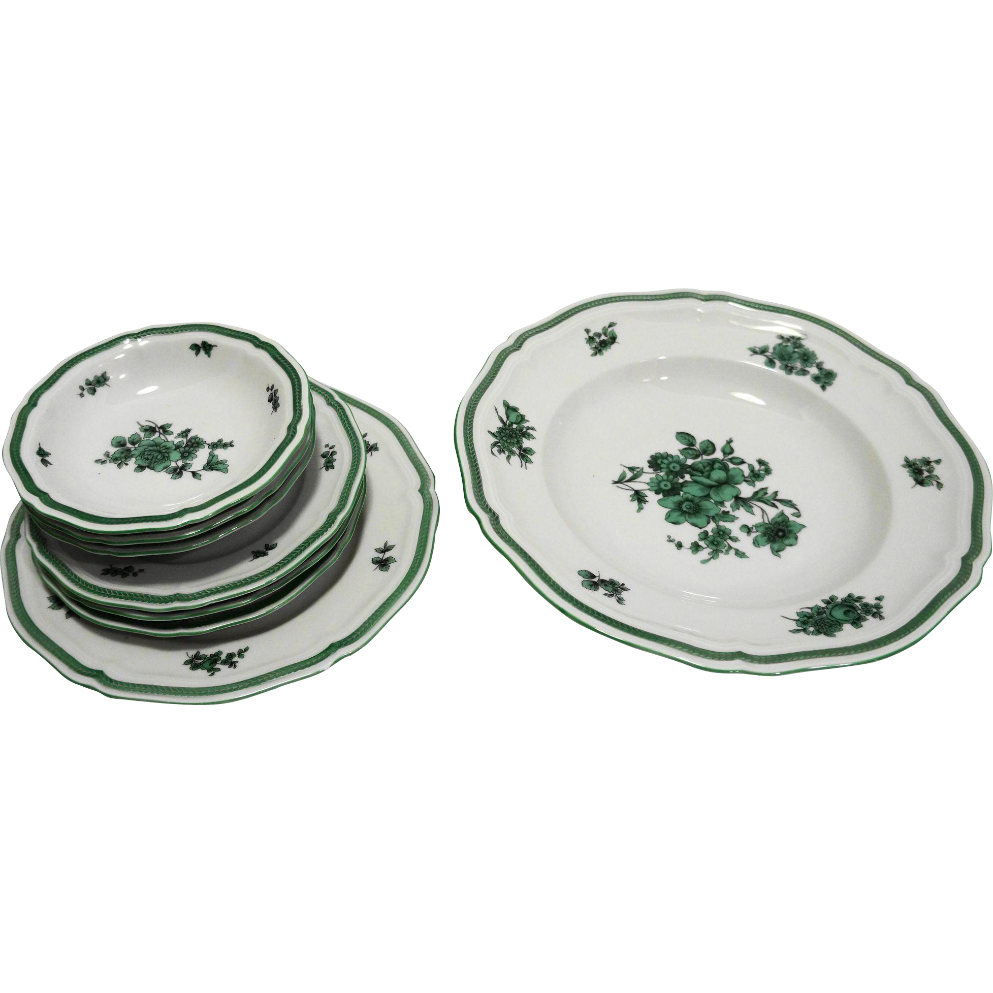 Rosenthal Green Bloom Chippendale Shape 8 Pcs Rimmed Soup Bowl Bread Plates Desserts