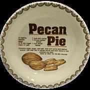 Pecan Pie Recipe Pie Plate/Dish Ceramic Vintage Mount Clemens Pottery Japan