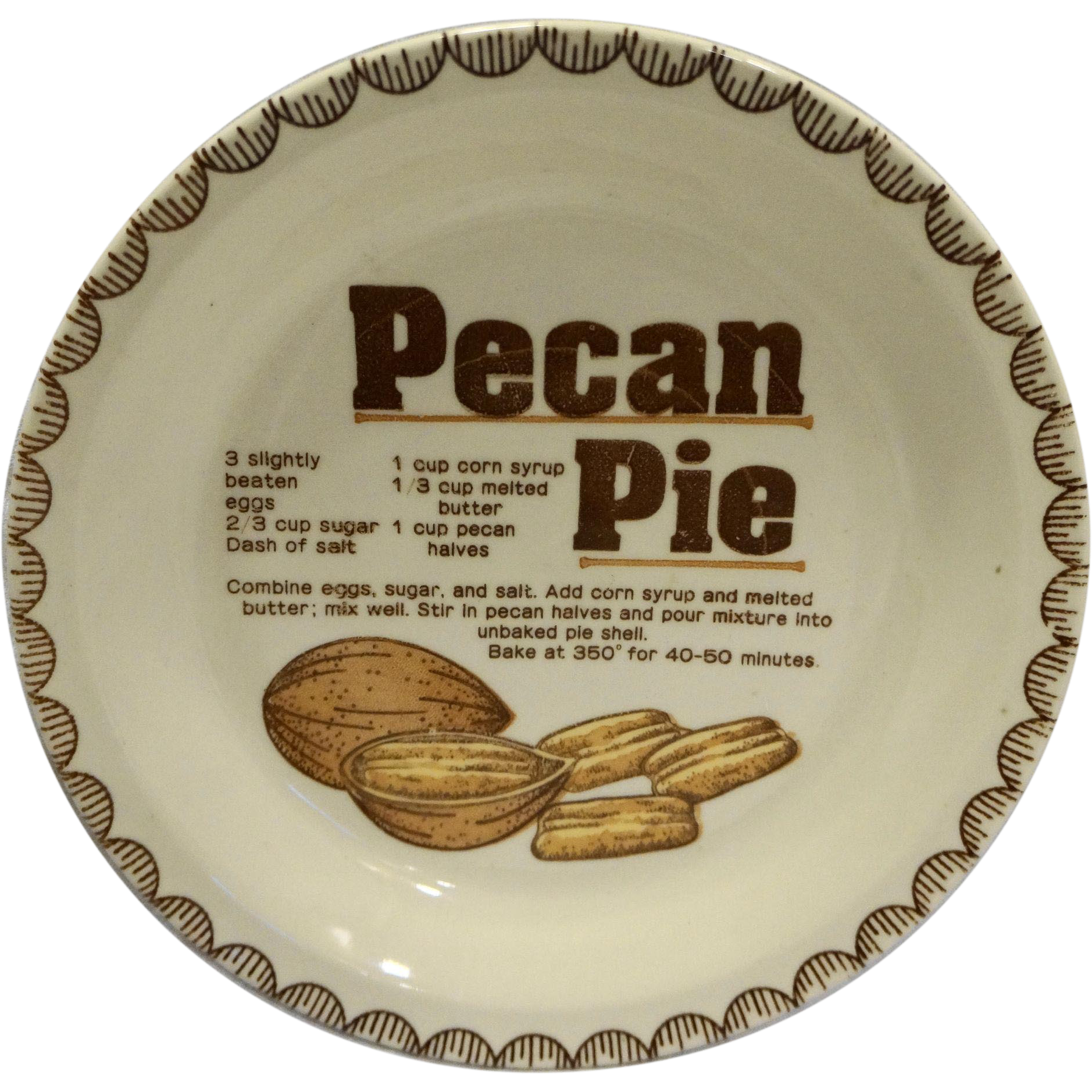 Pecan Pie Recipe Pie Plate/Dish Ceramic Vintage Mount Clemens Pottery Japan