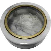 Italian Marble Etched Birds Glass Lid Trinket Box Round Vintage