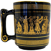 Fakiolas Greece Hand Made Black 24K Gold Decorated Mug