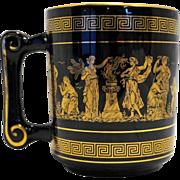 Fakiolas Greece Hand Made Black 24K Gold Decorated Mug