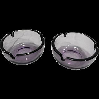 Viking Art Glass Plain Round Ashtrays Amethyst Purple Glass Pair