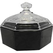 Octime Black Glass Clear Lid Sugar Bowl Arcoroc France