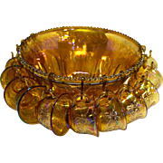 Indiana Glass Marigold Gold Carnival Princess Harvest Grape Punch Set Bowl 12 Cups 12 Hooks