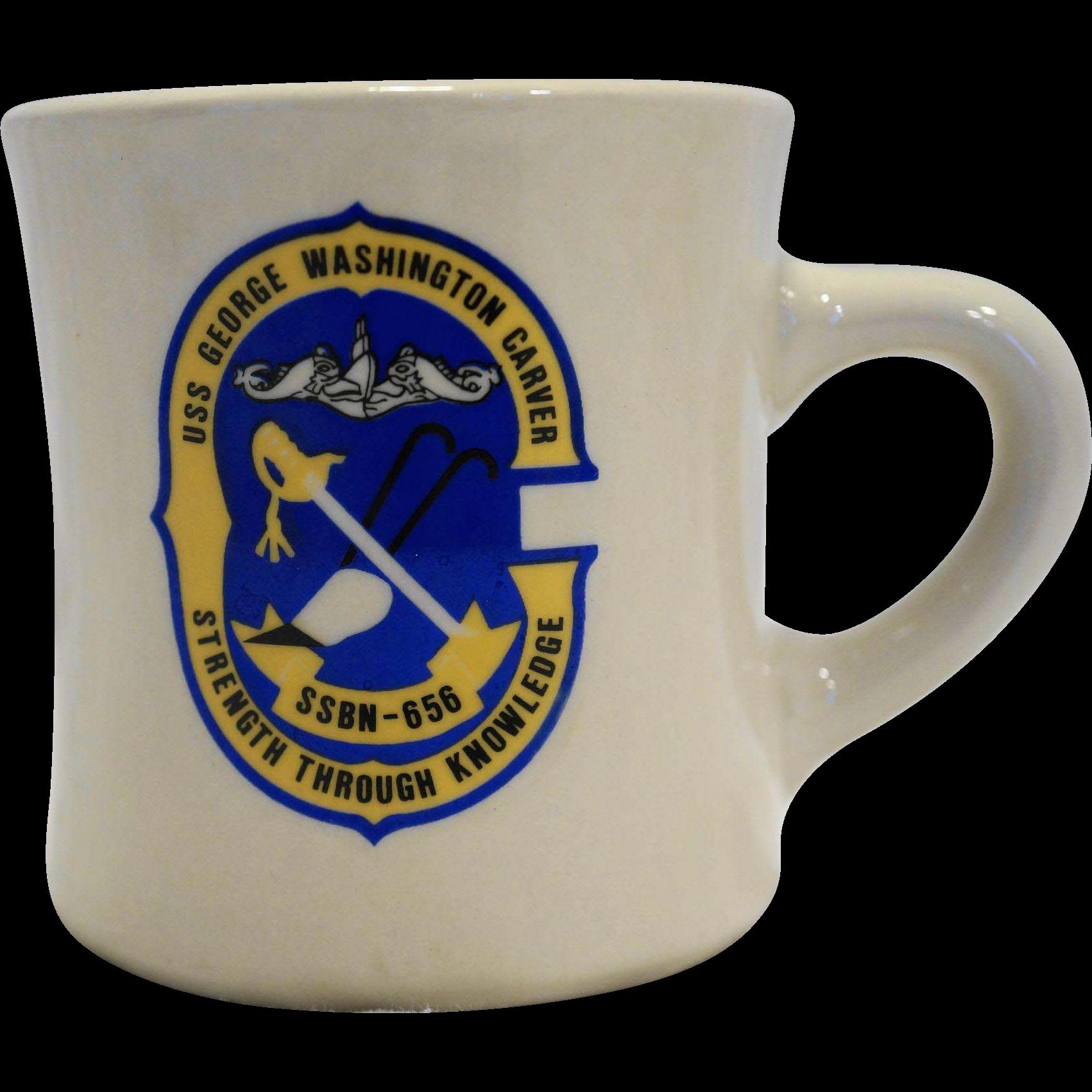 US Navy USS George Washington Carver, SSBN-656 Sub Mug Cup Ultima China Heavy