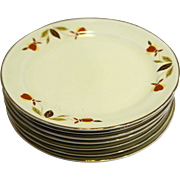 Hall Autumn Leaf Jewel Tea Bread Butter Plates Set of 7