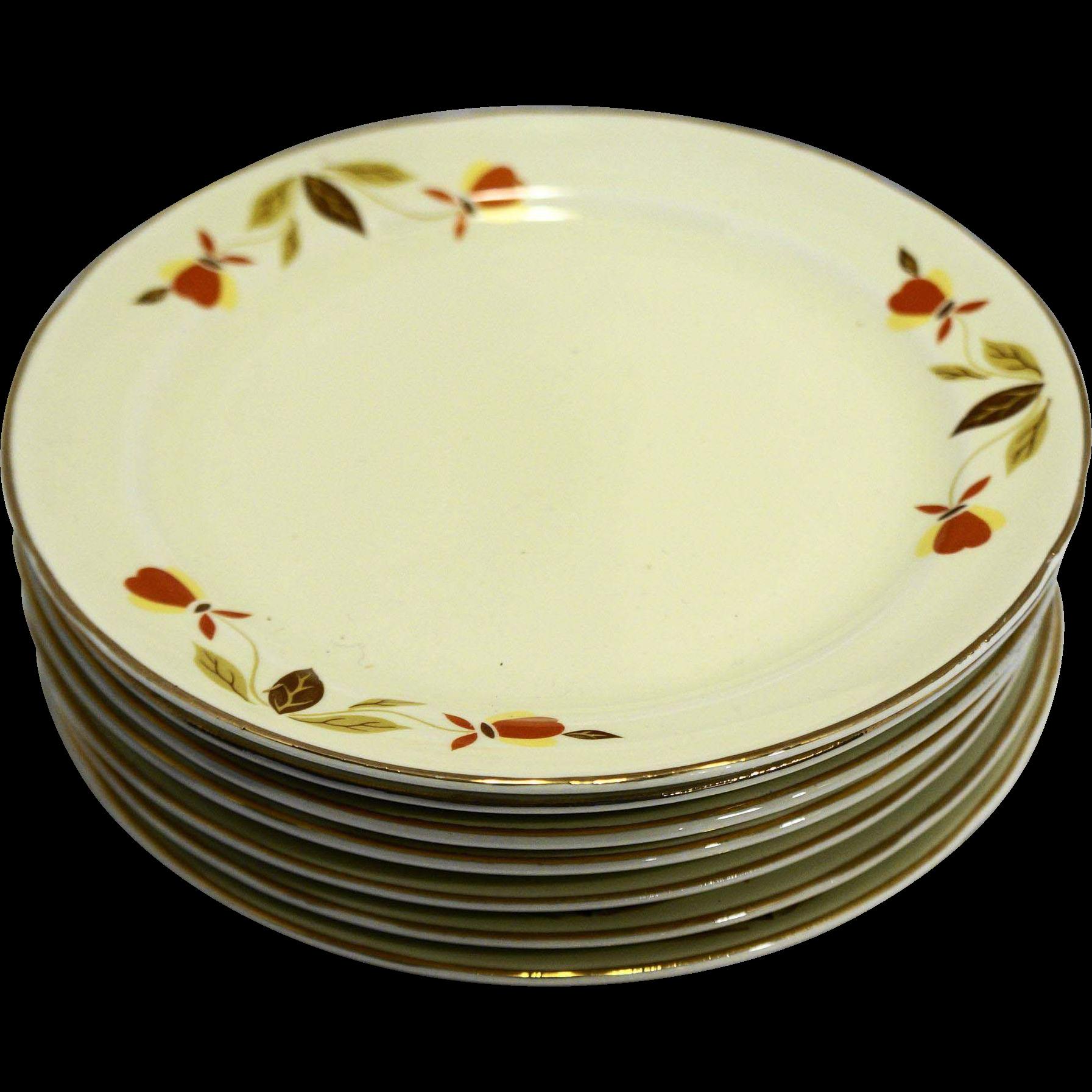 Hall Autumn Leaf Jewel Tea Bread Butter Plates Set of 7