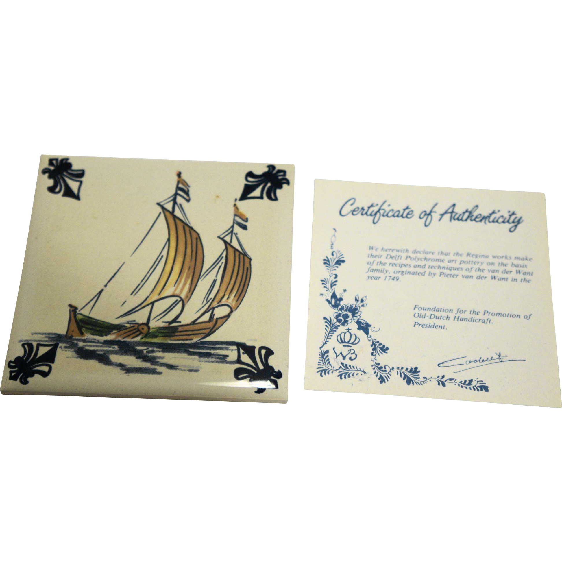 KLM Polychrome Delft Ship Series Tile Coaster C3 Fishing Boat
