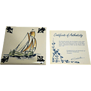KLM Polychrome Delft Tile Coaster Ship Series C9 Fore And Aft Ship Schooner