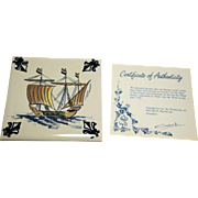 KLM Polychrome Delft Ship Series Tile Coaster C7 Galleon