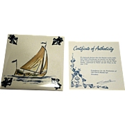 KLM Polychrome Delft Ship Series Tile Coaster C6 Boyer