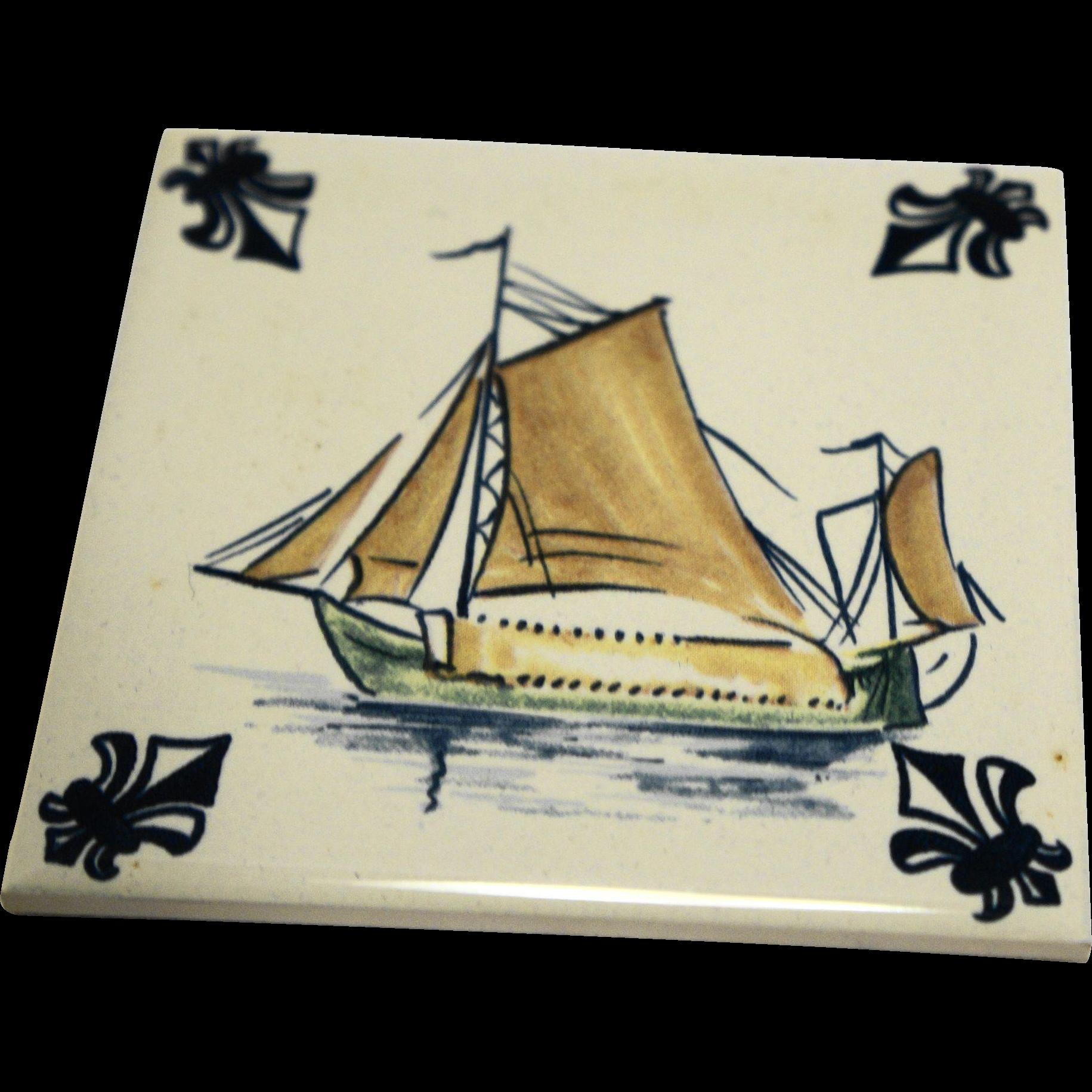 KLM Polychrome Delft Ship Series Tile Coaster C5 Hay Barge